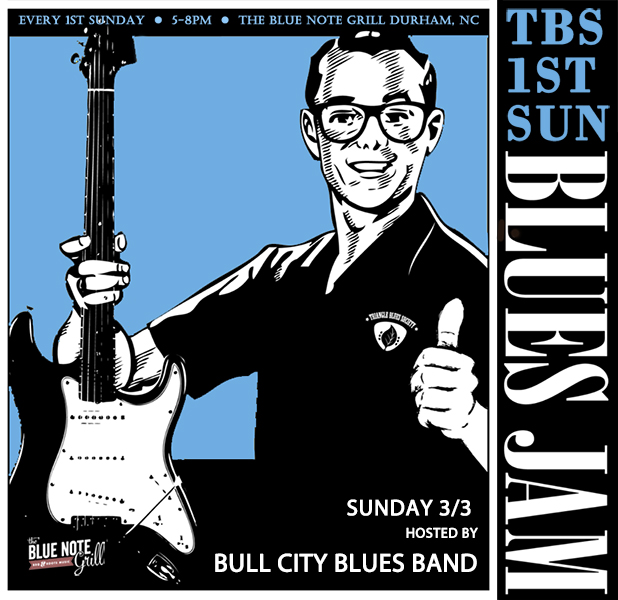 TBS 1st Sunday Blues Jam with Guest Hosts:  Bull City Blues Band + IBC Solo/Duo Winner Jon Shain